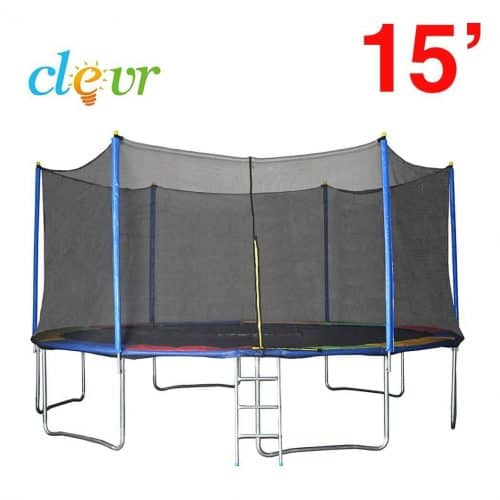 Clevr 15 ft Trampoline with Safety Enclosure Net