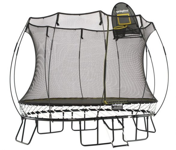 Trampoline With Basketball Goal Jumbo Square Skywalker